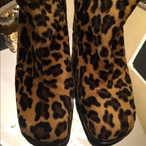 Faux pony skin leopard boots